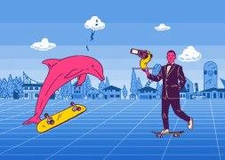 Иллюстрации для сайта скейт-соревнования Skate Arcade под эгидой Red Bull
