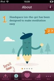 iOS-приложение для медитации Headspace. Достаточно необычный для мобильных приложений дизайн.