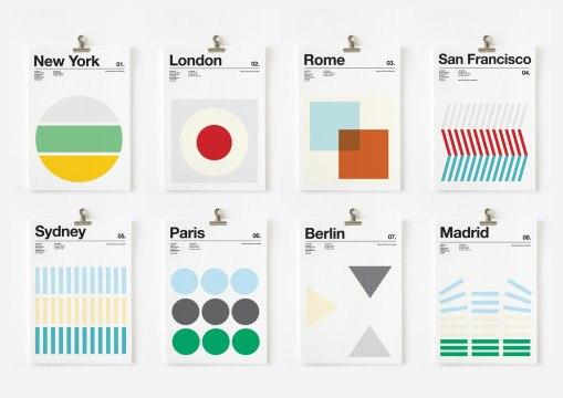 Плакаты и открытки в швейцарской стилистике Ника Барклая