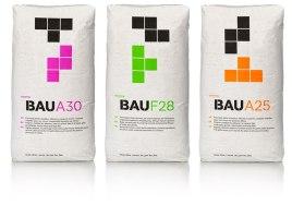 Упаковка и сайт для марки строительных смесей BAU