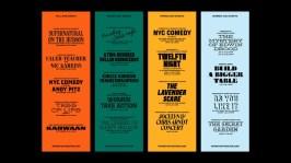 Оригинальная и гибкая айдентика нью-йоркского театра Irvington Theater, в которой используется 52 разных шрифта