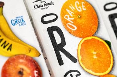 Упаковка греческой марки органических соков Christodoulou Family