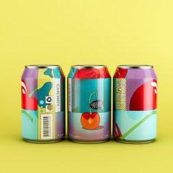 Красочный концепт серии банок натуральных соков, разработанный B&W Graphic Lab
