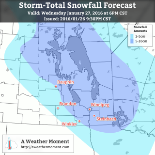 Wednesday Storm-Total Snowfall Forecast valid at 6PM CST