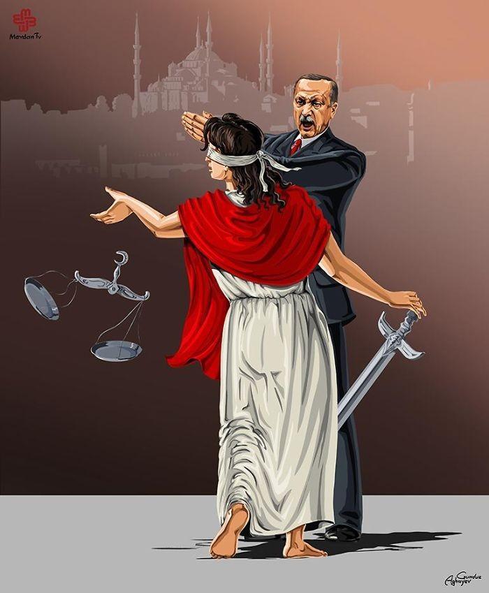 Cartunista retrata como líderes mundiais veem a justiça (6)