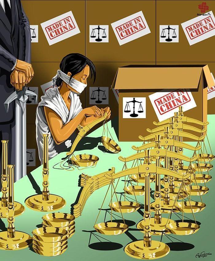 Cartunista retrata como líderes mundiais veem a justiça (11)