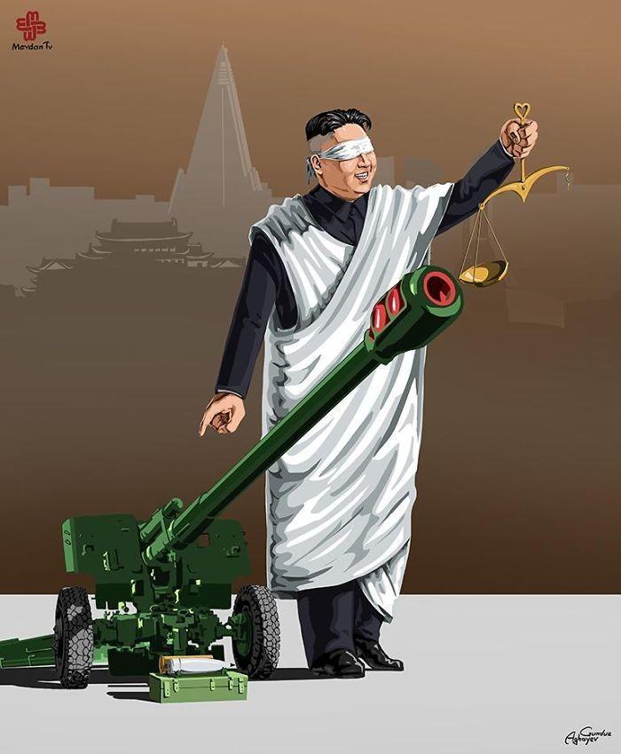 Cartunista retrata como líderes mundiais veem a justiça (10)