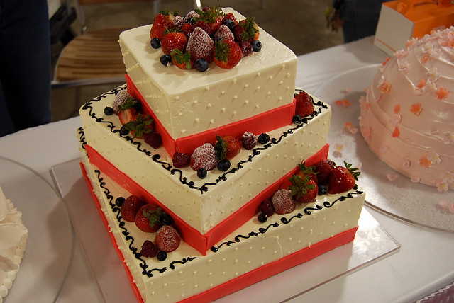 Stacked White Cake with Fruit   A Wedding Cake Blog Stacked White Cake with Fruit