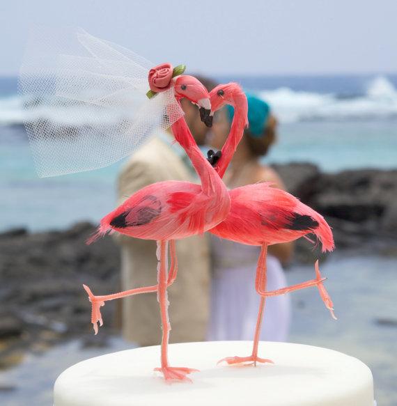 Cake Topper Friday Flamingo Bride And Groom A Wedding