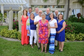 Erin's family celebrating her parents' 50th wedding anniversary in the Bahamas