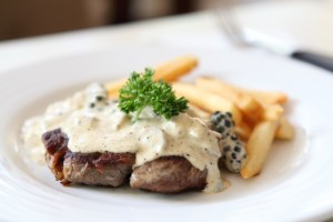 Venison steak with ginger wine and whisky sauce