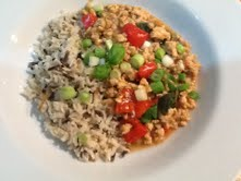 Spicy Turkey Mince served with brown and wild rice