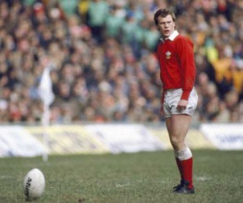 Paul Thorburn on the rugby pitch, about to take a kick for Wales.