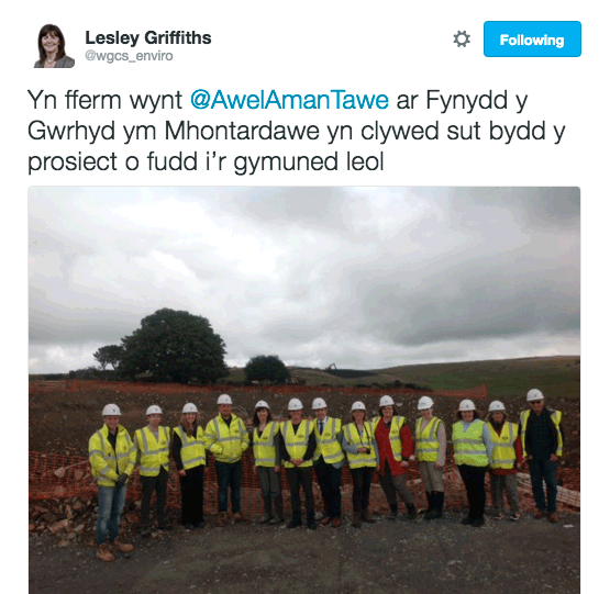 Lesley Griffiths tweet in Cymraeg