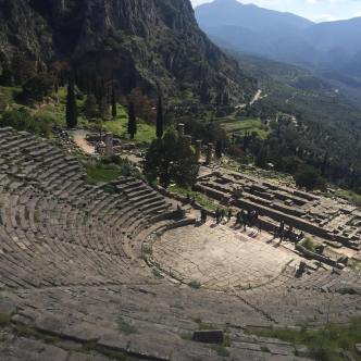 View from the uppers section with the theater and Temple of Apollo below (this is where the oracle was located)