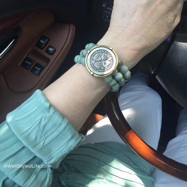 French Kande 3 strand sea mist jade bracelet