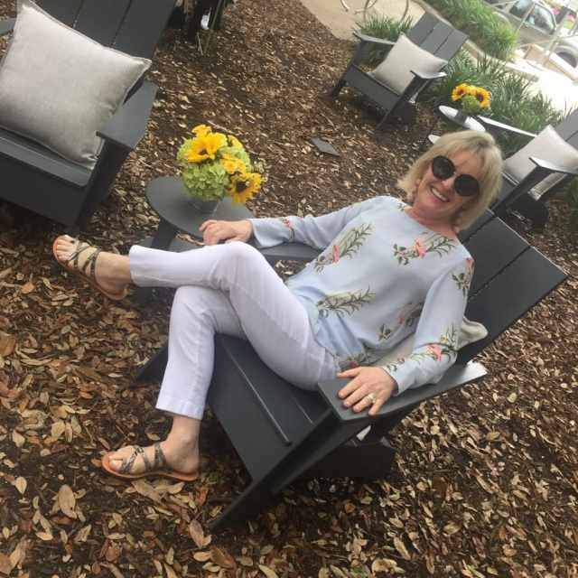 relaxing wearing Ann Taylor at the Reward Style Conference