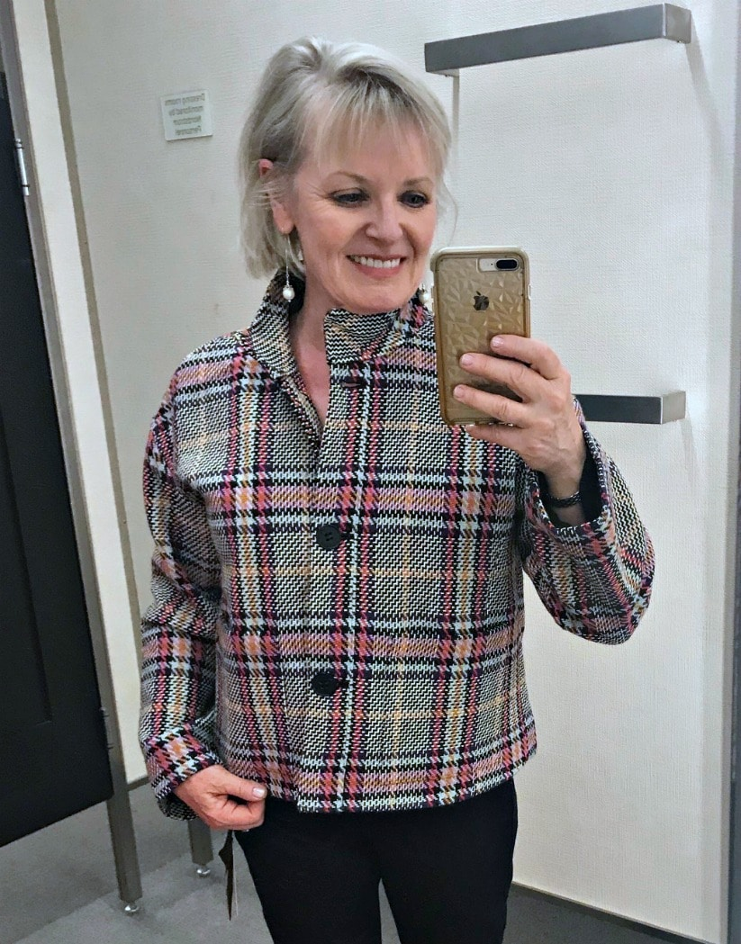 Jennifer Connolly of A Well Styled Life trying on Halogen Jacket at Nordstrom