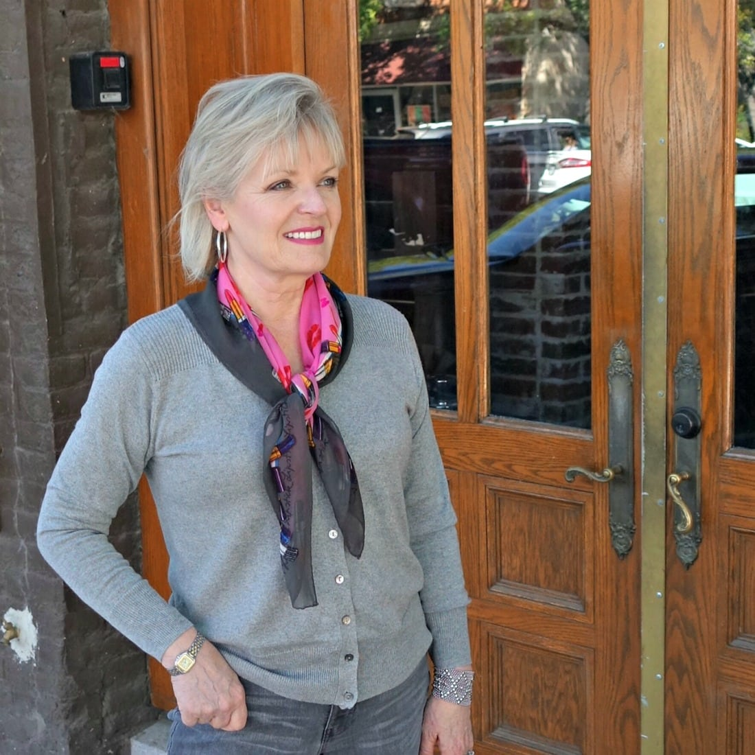 Gray silk cardigan from Lily Silk on A Well Styled Life