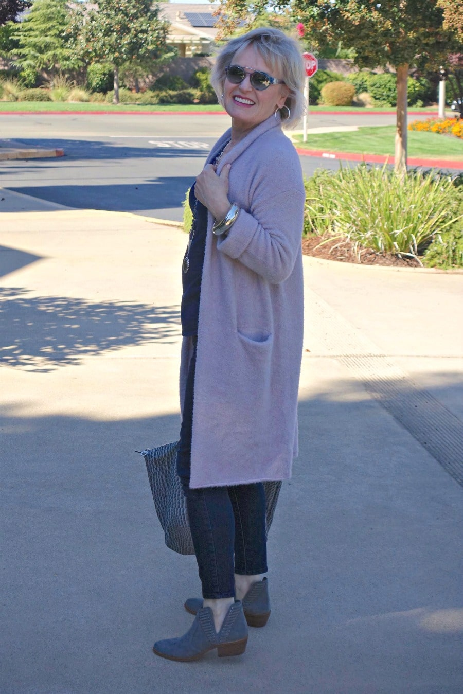 Jennifer Connolly of A Well Styled Life modeling Thornton sweater from Anthropologie