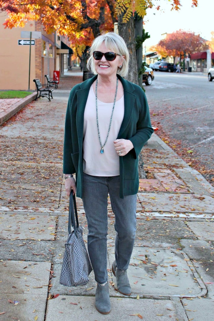Jennifer Connolly of a well styled life wearing green sweater jacket from J.Crew with gray jeans