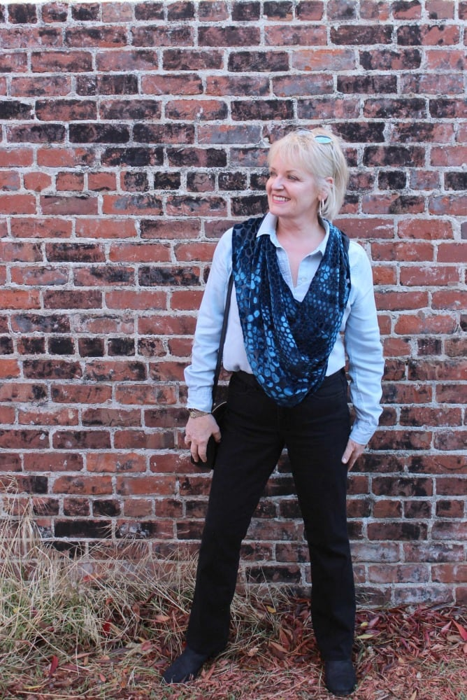 jennifer connolly of a well styled life wearing blue velvet cape over chambray shirt