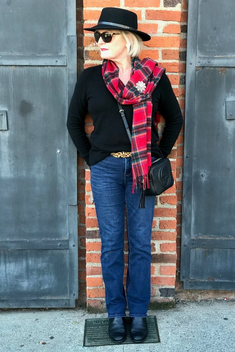 Jennifer Connolly of A Well Styled Life wearing Talbots plaid scarf with everlane cashmere sweater