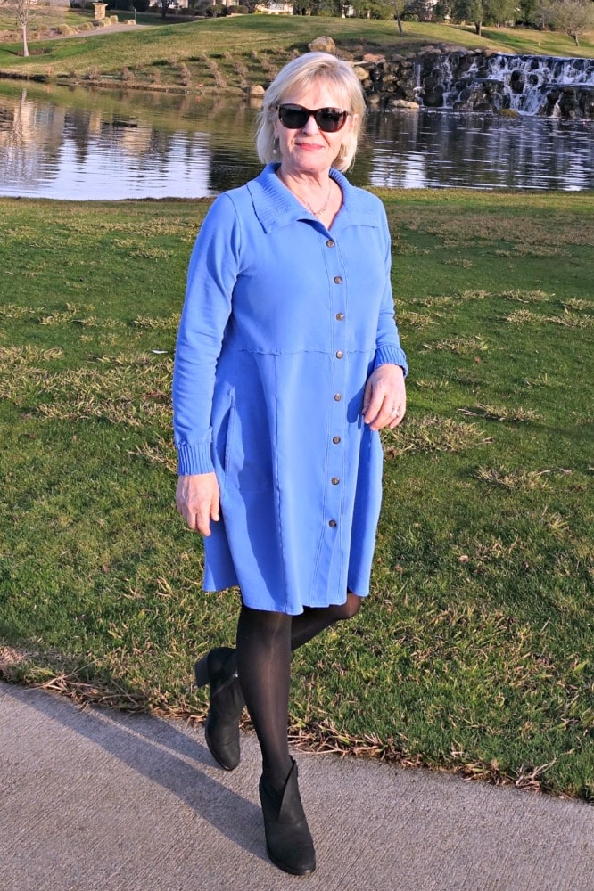 Jennifer Connolly or A Well Styled Life wearing Bee Jacket from Artful Home as a dress