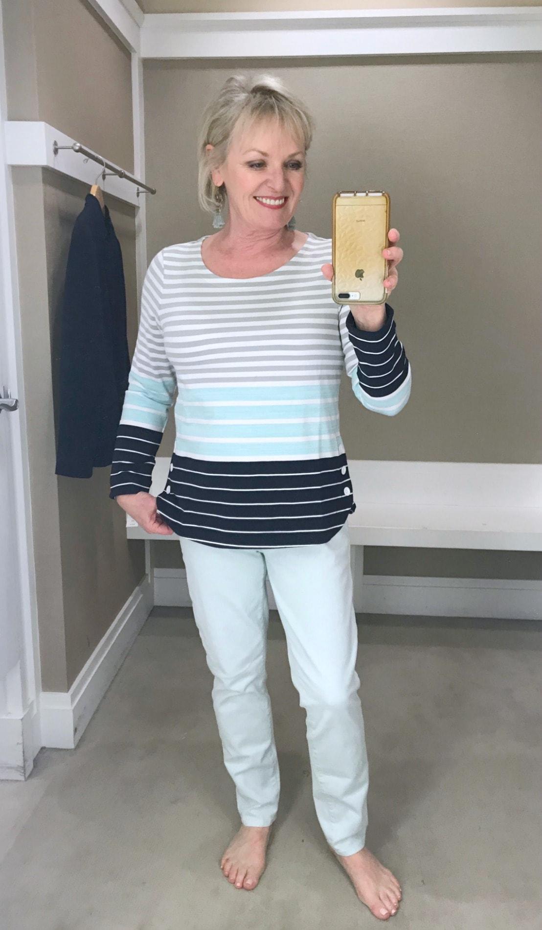 Jennifer from A Well Styled Life weaing Talbots spring top and jeans