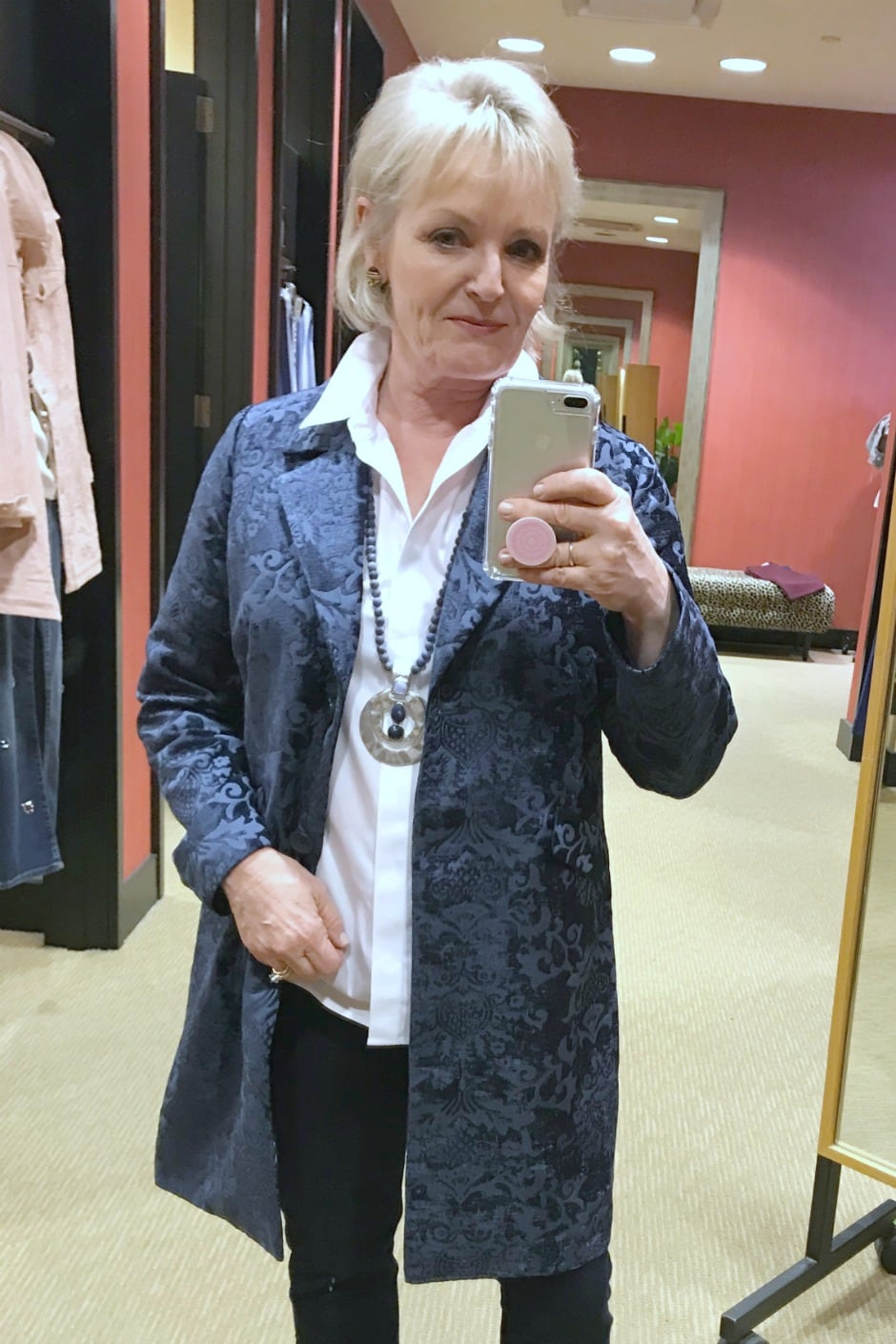 Jennifer of A Well Styled Life wearing Chenille Jacquard jacket from Chico's
