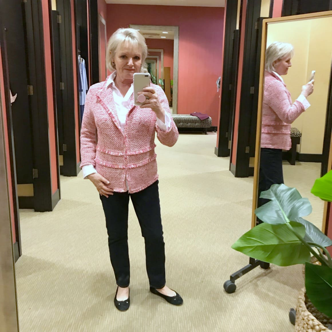 Jennifer of A Well Styled Life wearing Chico's textured cardigan in pink