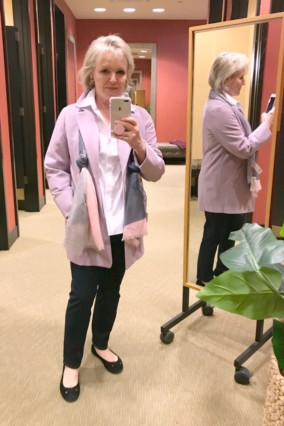 Jennifer of A Well Styled Life wearing Chico's knit jacket and jeans