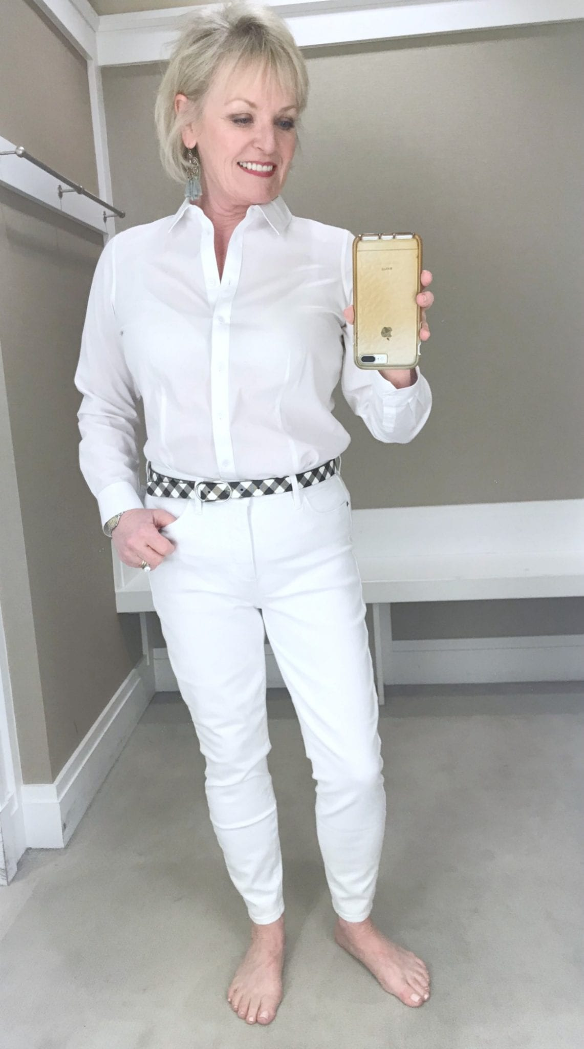 Jennifer of A Well Styled Life wearing Talbots perfect white shirt and white jeans