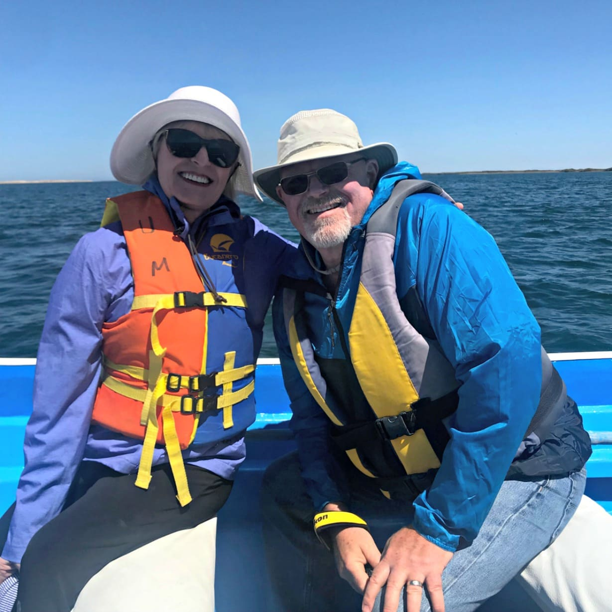 Jennifer of A Well Styled life and her brother whale watching in Baja Mexico