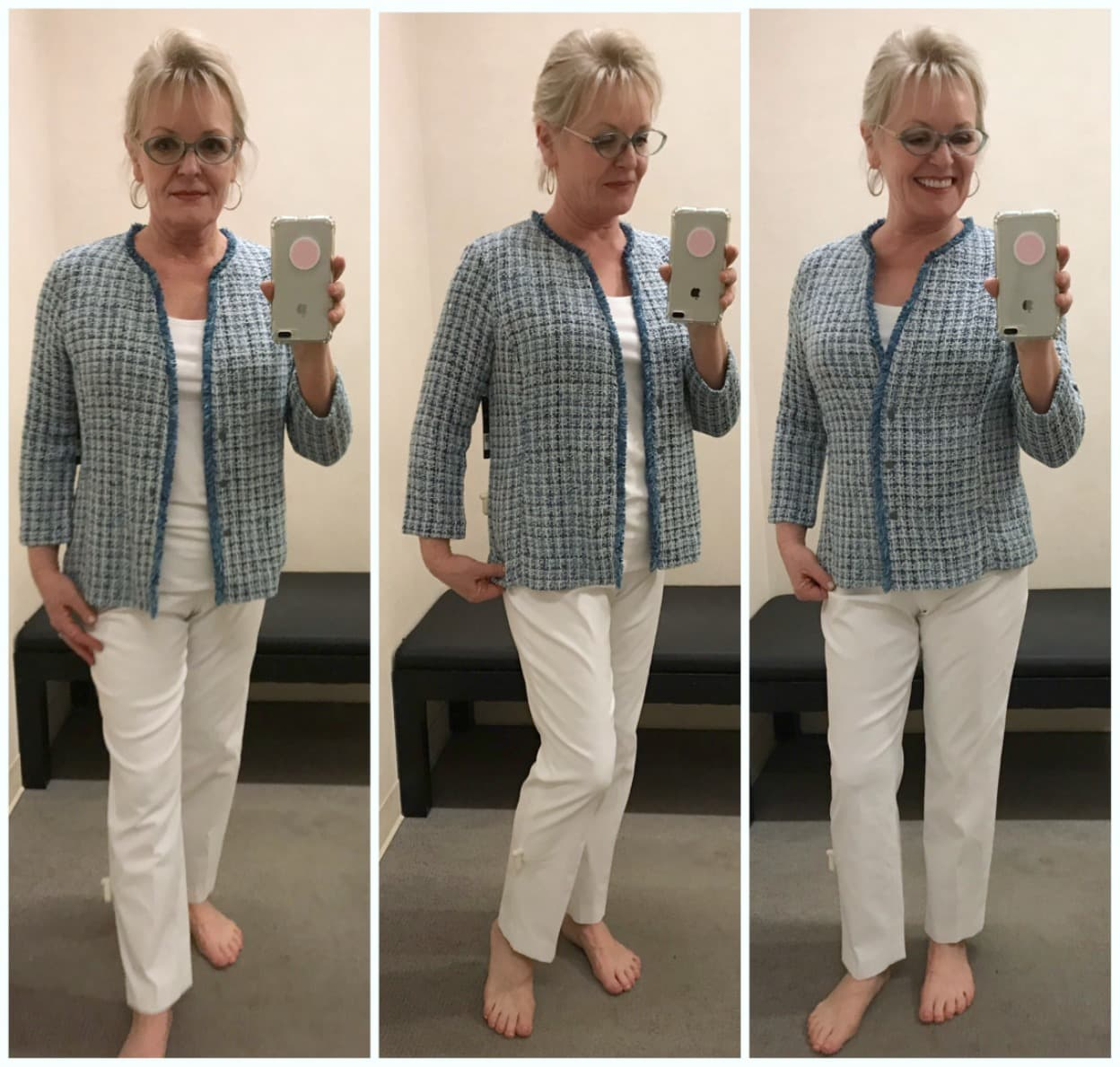Jennifer Connolly in the dressing room at Nordstrom wearing Nic+Zoe tweed jacket over white tank and white pants