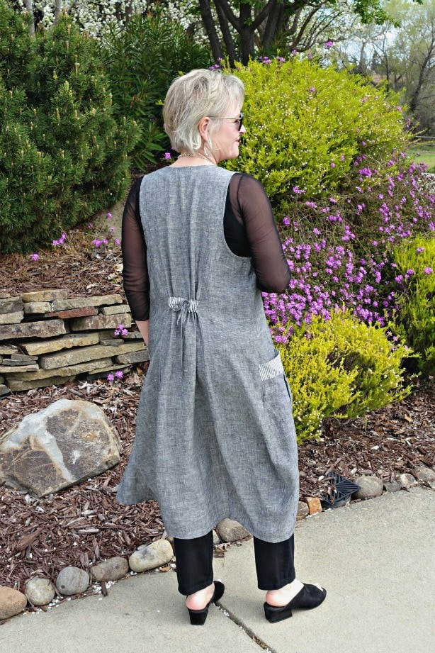 back of Hanover vest showing lace ties