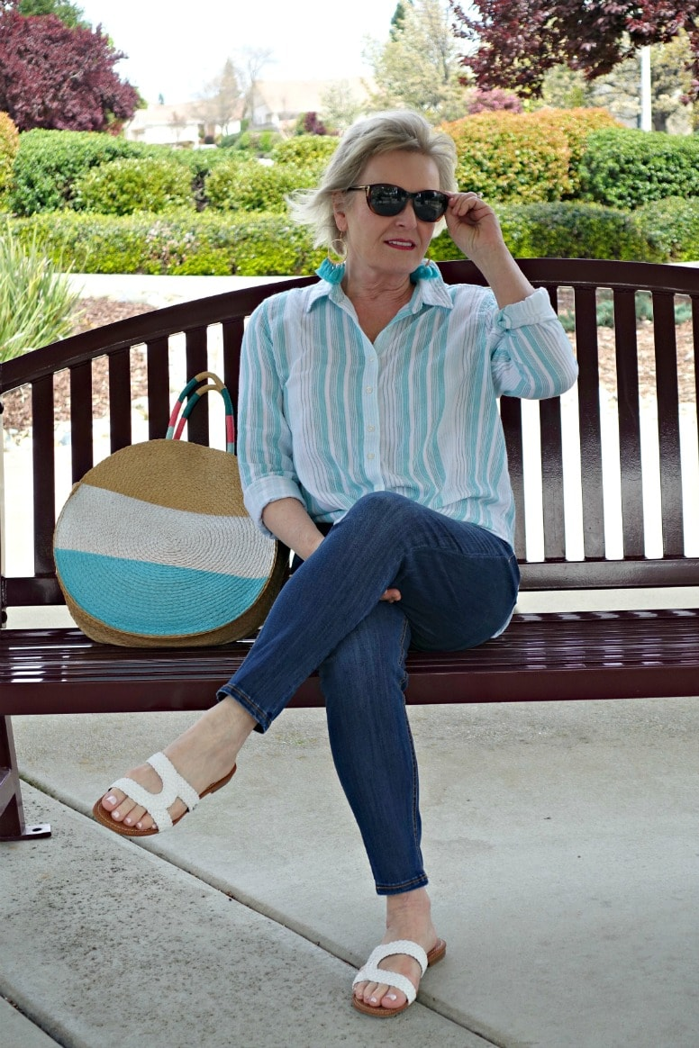 over 50 style blogger wearing casual spring look from Walmart