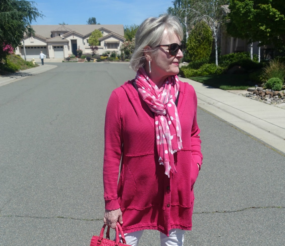 casual pink hoodie and polka dot scarf on Jennifer Connolly of A Well Styled Life
