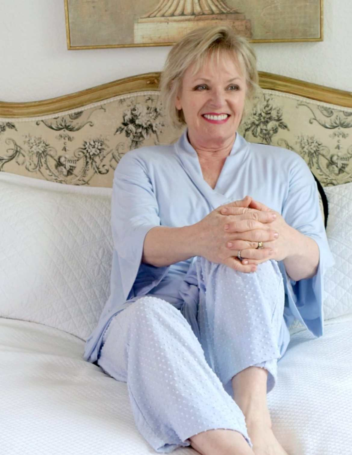 over 50 style blogger Jennifer Connolly of A Well Styled Life wearing blue Somas pajama set