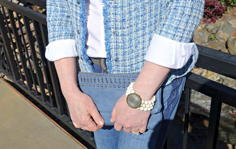 blue plaid jacket with white shirt and French Kande bracelet