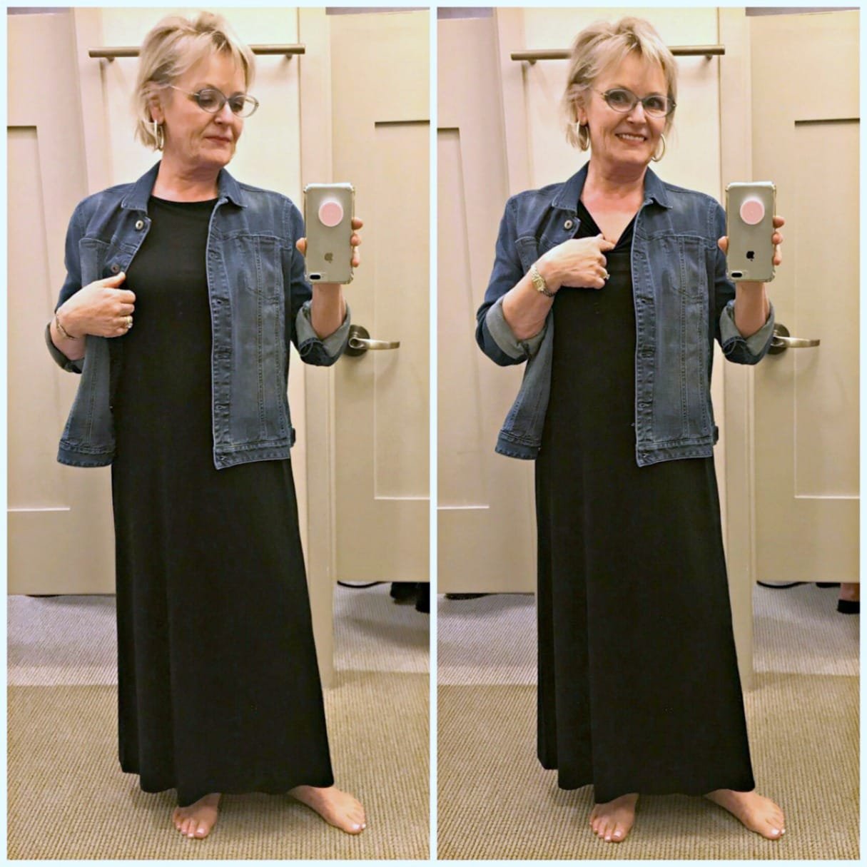 Black maxi dress and denim jacket from J.Jill styled by Jennifer of A Well Styled Life