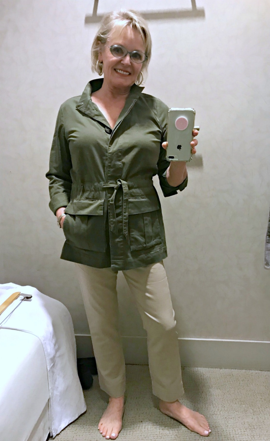 green jacket and beige cotton pants from J.Jill styled by Jennifer Connolly of A Well Styled Life