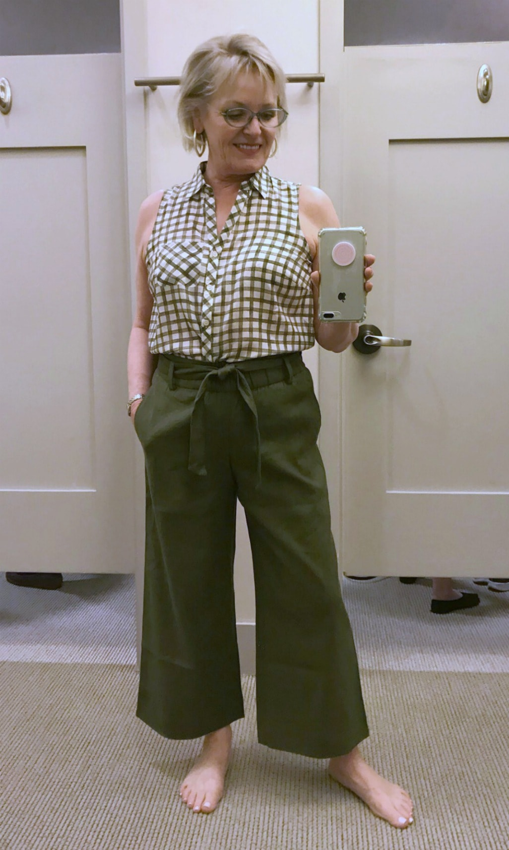 gingham shirt and green wide crop linen pants from J.Jill worn by Jennifer of A Well Styled Life