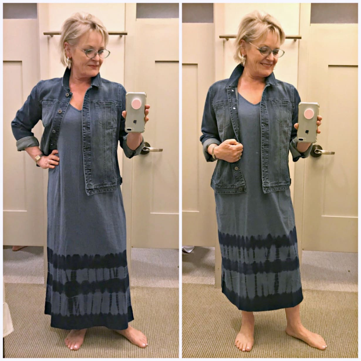 Jennifer Connolly of A Well Styled Life styling denim jacket over tie-dye maxi dress in regular and petite length