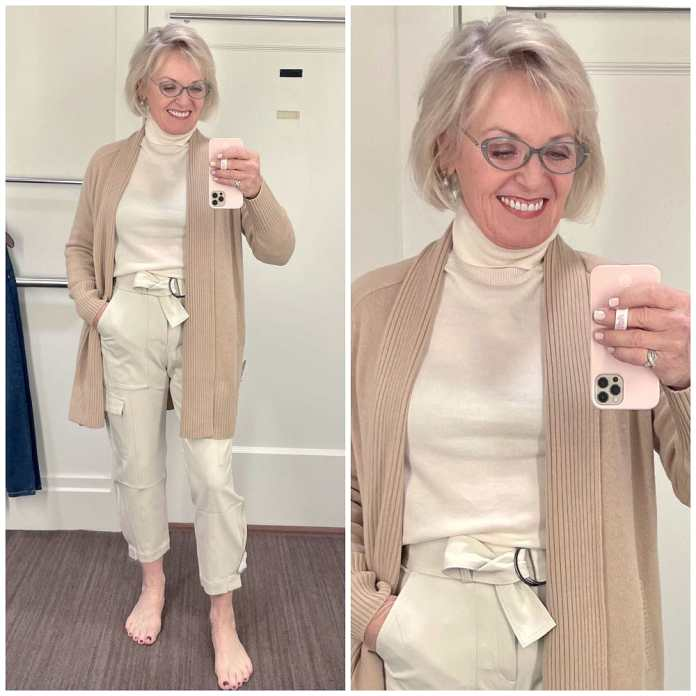 woman wearing cream colored outfit and sweater