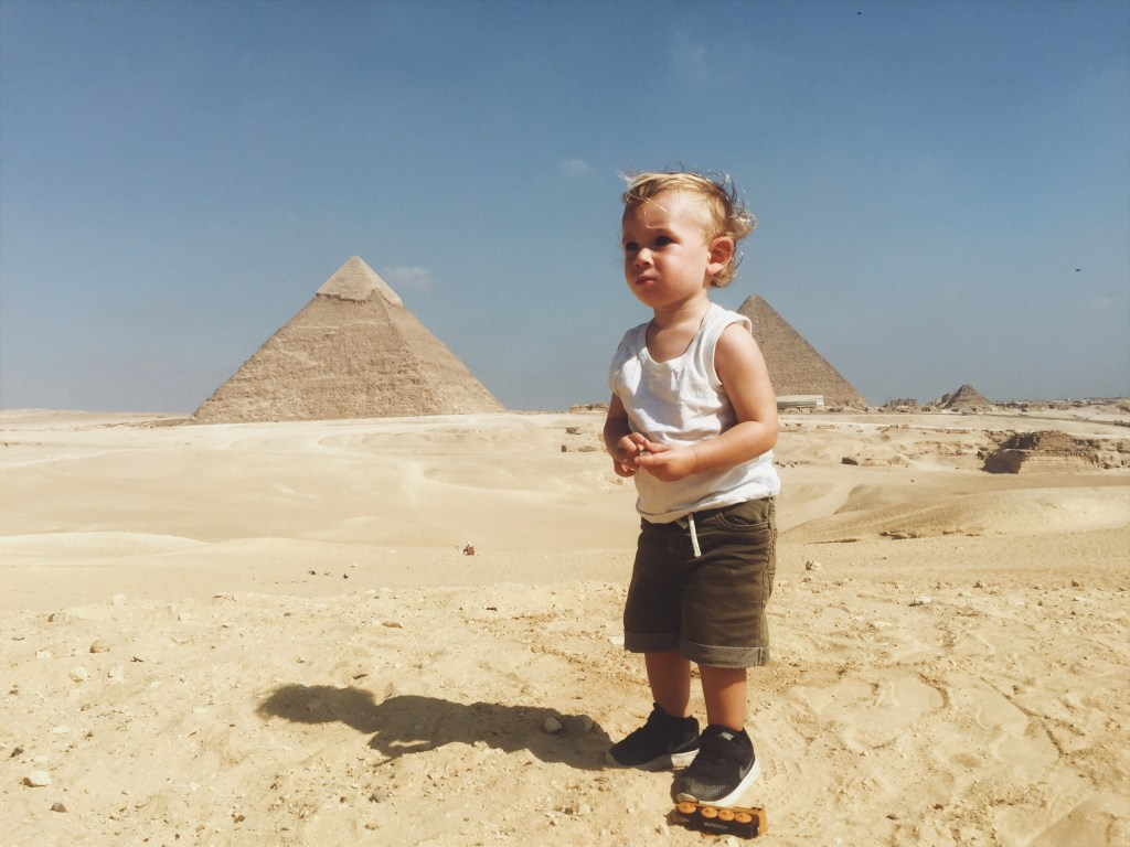 Visiting the pyramids with a toddler