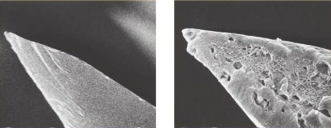 Left: Obsidian tip under and electron microscope. Right: Steel point under an electron microscope.