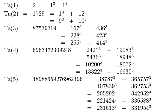 taxicab numbers