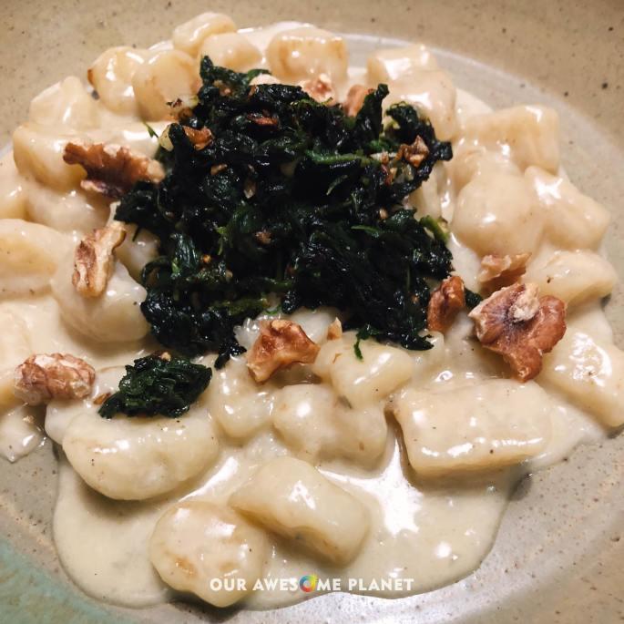 Gnocchetti (₱530). Potato gnocchi with gorgonzola cheese, spinach and walnuts