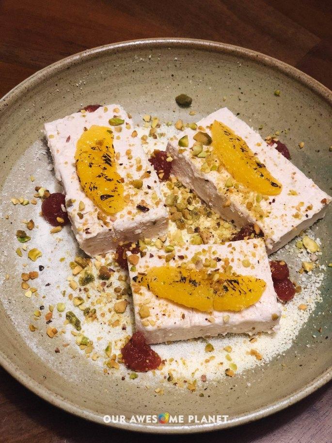 Semifreddo alla Fragola (₱350). Frozen strawberry mousse, orange, pistachio